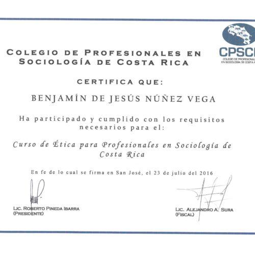 Curso de Etica para Profesionales en Sociologia de Costa Rica